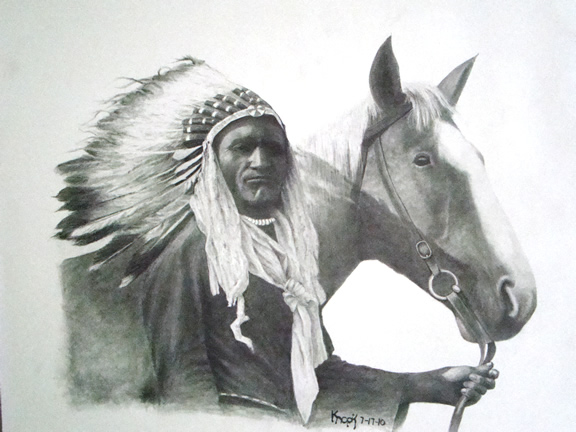 Native American Horse Drawing Native american and horse